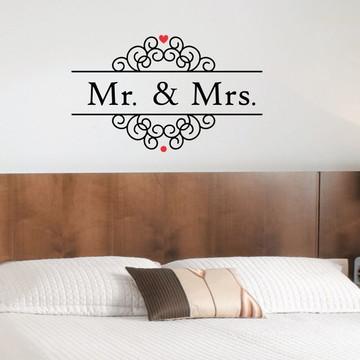 Adesivo - ROMÂNTICOS - Cabeceira Mr e Mrs