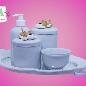Kit Higiene Porcelana Luxo Bandeja Resinada 002
