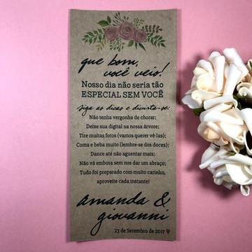 Menu Dicas Casamento Floral Kraft