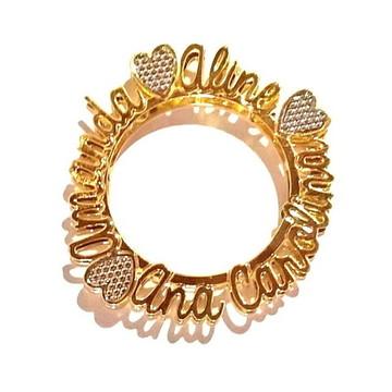 Mandala com Nome em Letras Cursivas - Banhado a Ouro
