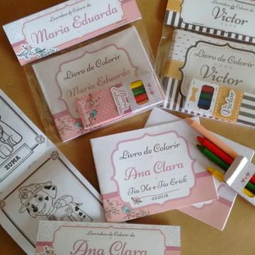 Mini Kit Colorir 3 Livros e Giz