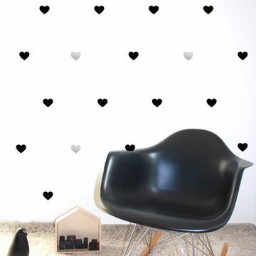 Adesivo Coração preto e prata