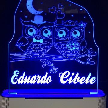 Luminária Coruja meia Lua e estrelas Personalizado com Led