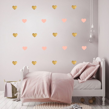 Adesivo Coração rosa e dourado