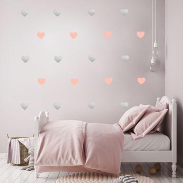 Adesivo Coração rosa e prata