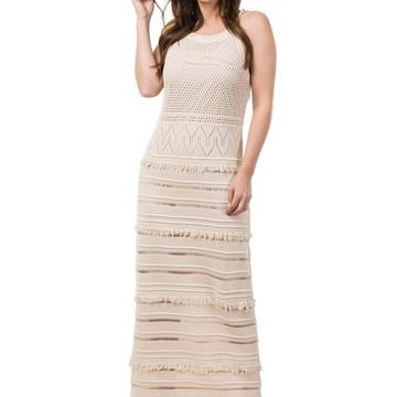 b6f0d31b31 Vestido Longo Feminino Tricot Tricô com Franjas Bege 04809