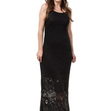 Vestido Longo Feminino de Tricot Tricô Rendado Preto 04780