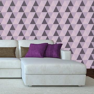 Papel de Parede Quarto Infantil Triângulos Geométrico Rosa