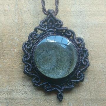 Colar com obsidiana prata