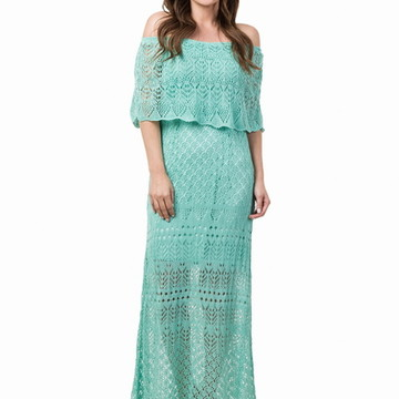 14703008e7 Vestido Longo Feminino de Tricot Ciganinha Verde Claro 04815