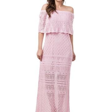 4d70b50630 Vestido Longo Feminino de Tricot Ciganinha Rosa Claro 04815