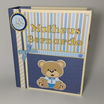 Álbum livro do Bebê personalizado 50 fotos Scrapbook Urso