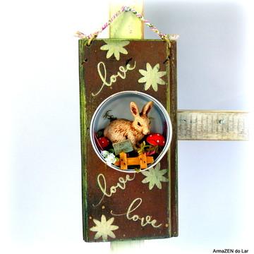 Placa rústica decorada com coelho - UNITÁRIO