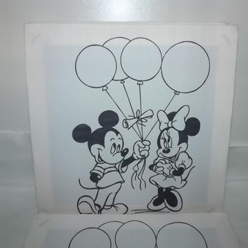 Tela de Pintura Personalizada Mickey e Minnie