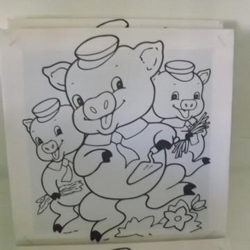 Tela de Pintura Personalizada Os 3 Porquinhos