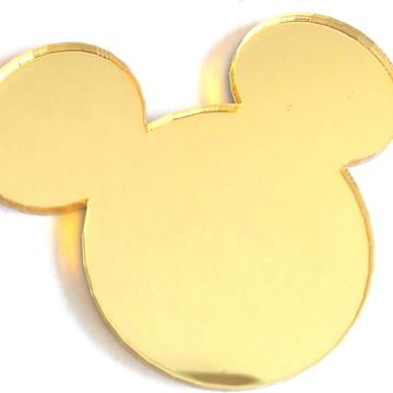 Aplique acrilico espelhado dourado Mickey ou Minie