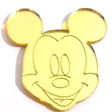 10 Aplique acrilico espelhado dourado Mickey