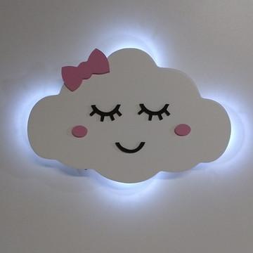 Luminaria Nuvem Com Luz Led E Rostinho Quarto Menina