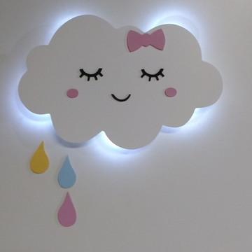 Luminaria Nuvem com luz de led e gotinhas de chuva menina
