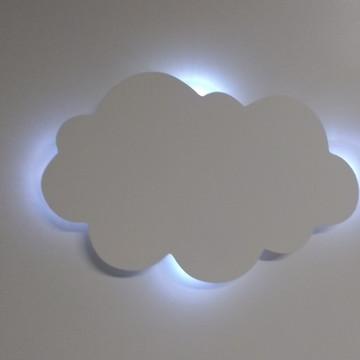 Luminaria Nuvem Com Luz De Led Mdf Porta Maternidade