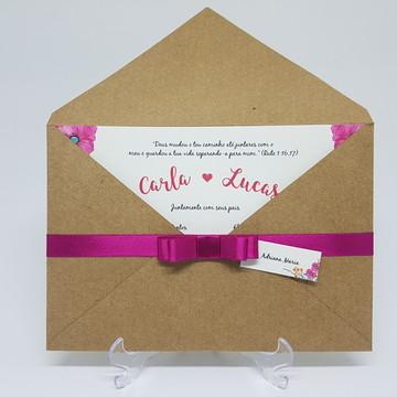 Convite de casamento moderno rosa pink