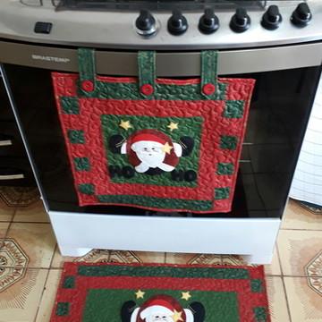 Kit cortina para forno e toalha para fogão de natal !!