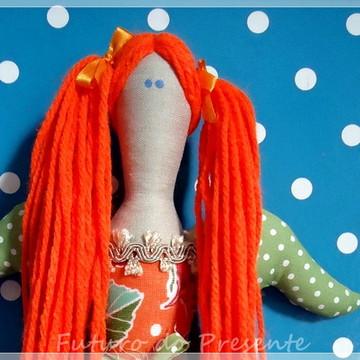 Boneca de pano figurino Fada estilo Tilda Orange