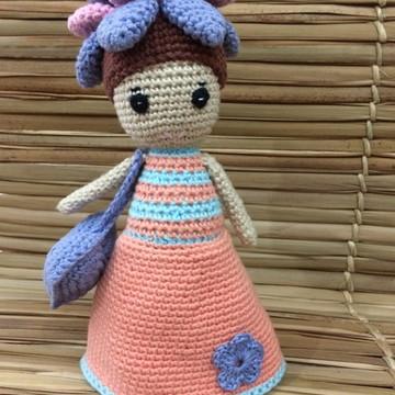 Boneca Flora de Crochet - Amigurumi