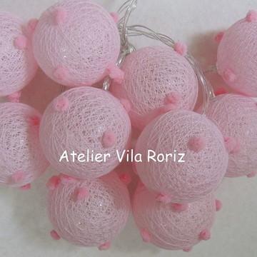 Cordão de Luz Mini Pompons Rosas!!
