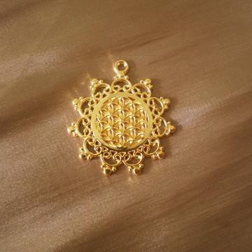Pingente Flor da Vida Dourado 4 Sol Brilante