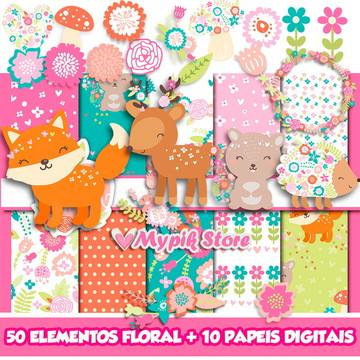 Kit Digital Floresta encantada Floral