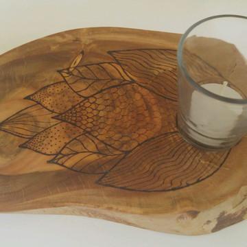 Bolacha de madeira castiçal - Pinha