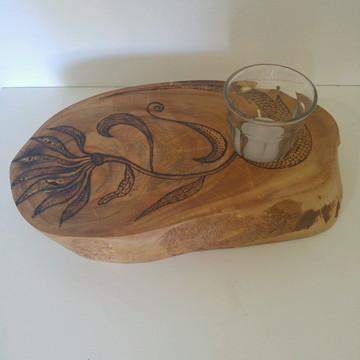 Bolacha de madeira castiçal - Flor cobra
