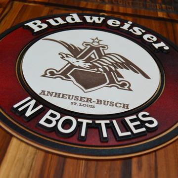 Placa Em Alto Relevo Budweiser.