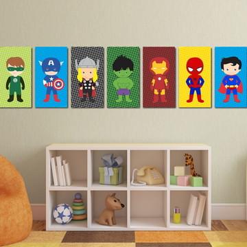 7 Quadros Super Heróis Baby