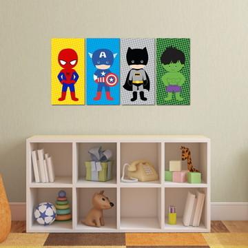 4 Quadros Super Heróis Cute