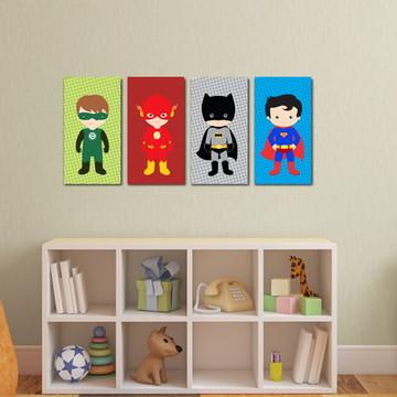4 Quadros Super Heróis Infantil
