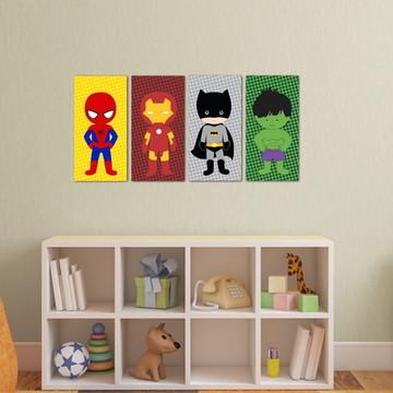 4 Quadros Super Heróis Baby
