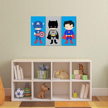3 Quadros de Super Heróis