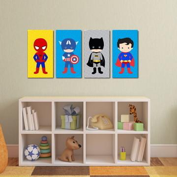 4 Quadros Super Heróis