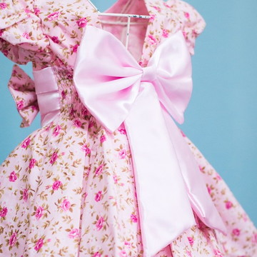 Vestido Infantil de Festa Floral Rosa