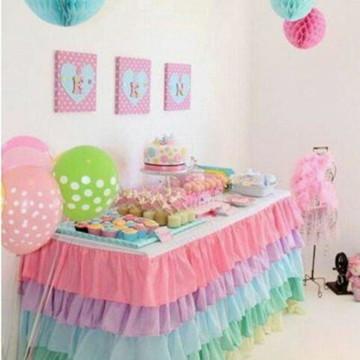 Toalha saia de mesa de babados para festa infantil