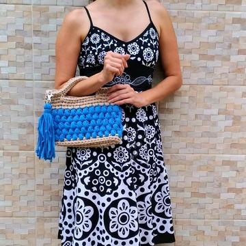 Bolsa de crochê azul