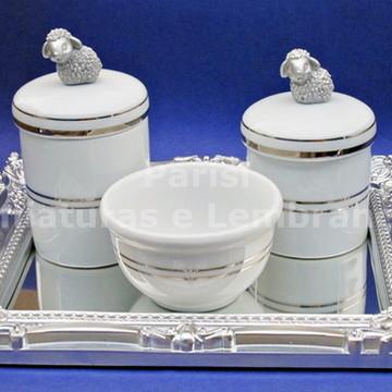 Kit de higiene com filete prata ovelha