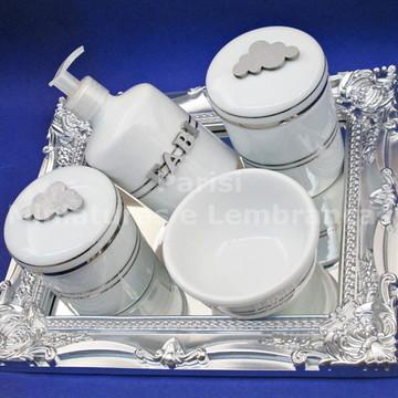 Kit de higiene com filete de prata e nome