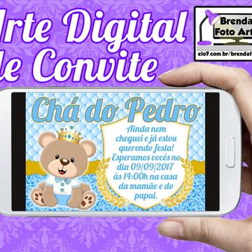Arte Digital Convite Ursinho Príncipe