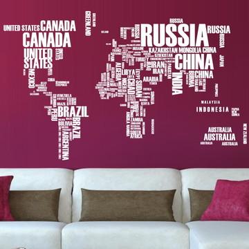 Adesivo Mapa Mundi com letras branco