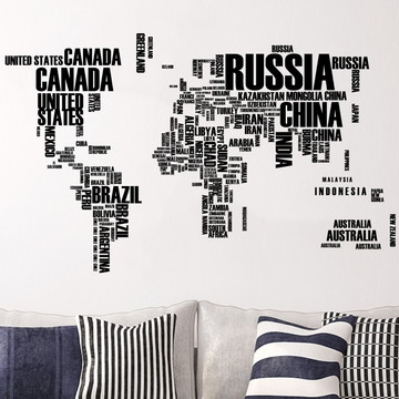 Adesivo Mapa Mundi com letras preto