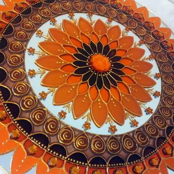 Mandala Prosperidade Laranja e Marrom em espelho de 30cm