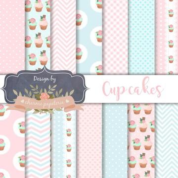 Papel Digital Cupcake   Papel digital Confeitaria Cupcakes